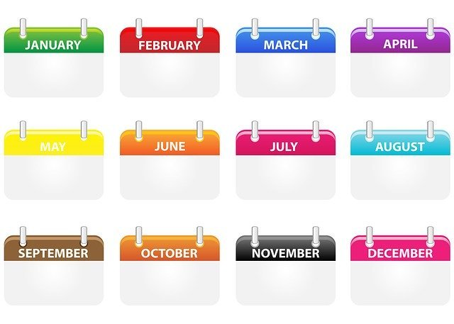 All 12 months of the year illustrated with different-colored calendar pages