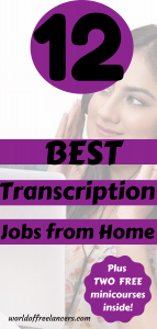 Woman with dark hair and black headphones smiling with mouth closed and looking to the right Pinterest image with text saying 12 best transcription jobs from home