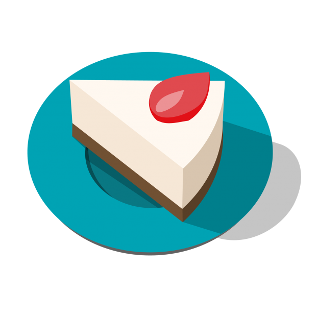Work life scopist - illustration of a piece of white cake on a blue plate
