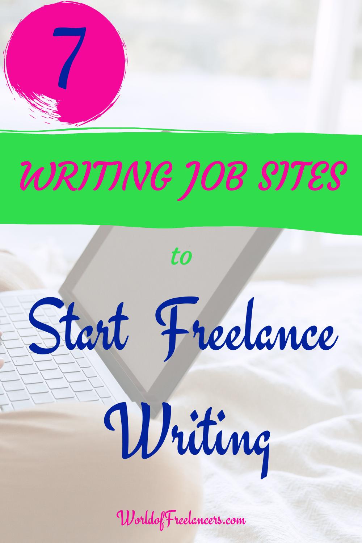 7 writing job sites to start freelance writing - Pinterest image