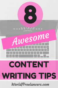 8 awesome content writing tips pink and black text overlay with image of laptop