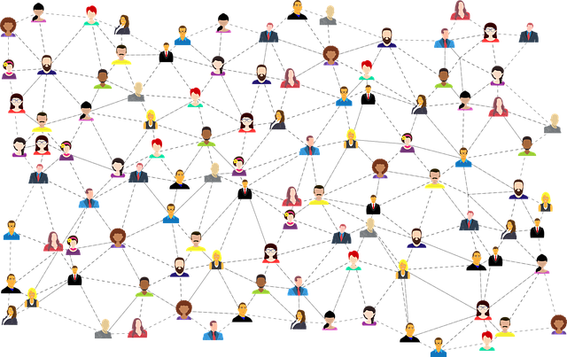 Illustration of dozens of diverse people connecting through client communication