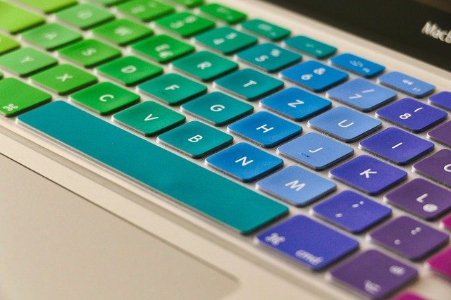 Multi-colored keyboard for creative jobs online