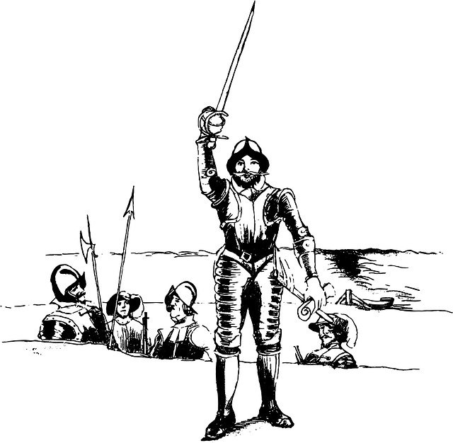 Black and white drawing of a soldier raising his lance