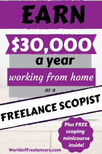 Purple black and white text on top of laptop image - Earn $30 a year working from home as a sccopist Pinterest image