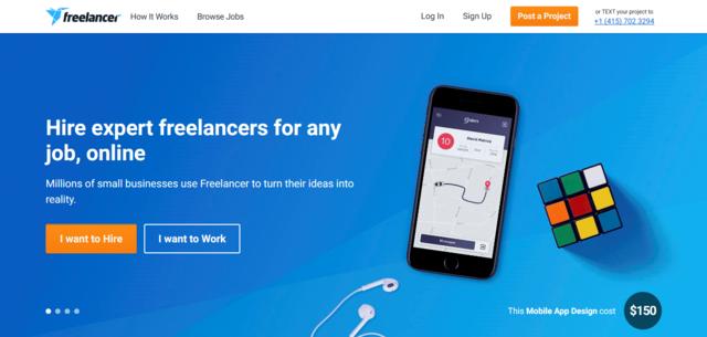 Freelancer.co.uk job search website for UK freelancers home page