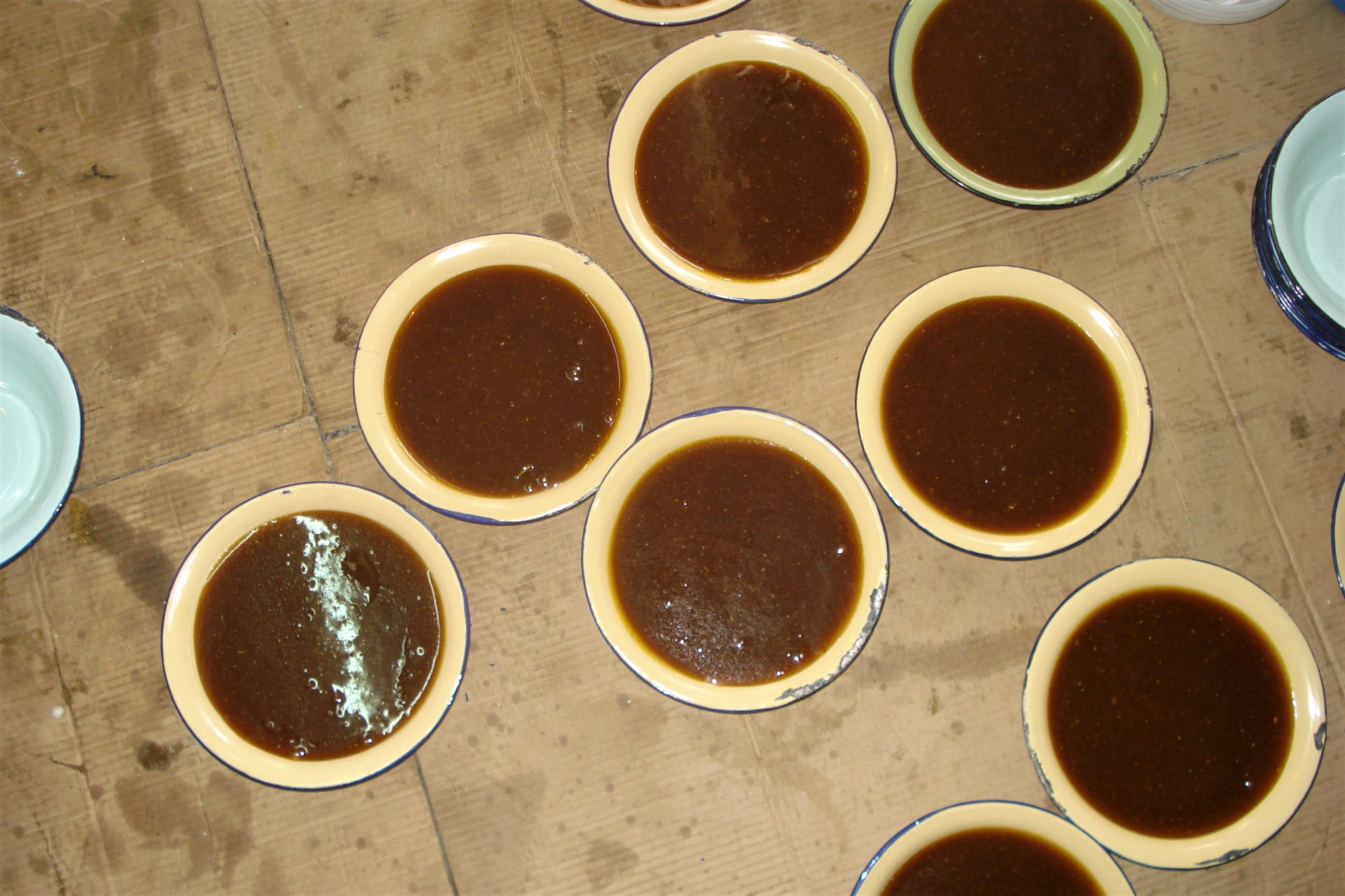 Eight ceramic bowls on the floor, filled with fresh, hot Omani halwa.