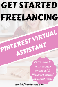 Pinterest image of smiling blonde woman at laptop with text get started freelancing Pinterest VA