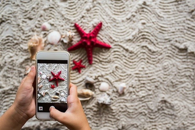 Learning how to become a Pinterest virtual assistant by taking an iPhone photo of a red starfish and some shells on a sandy beach