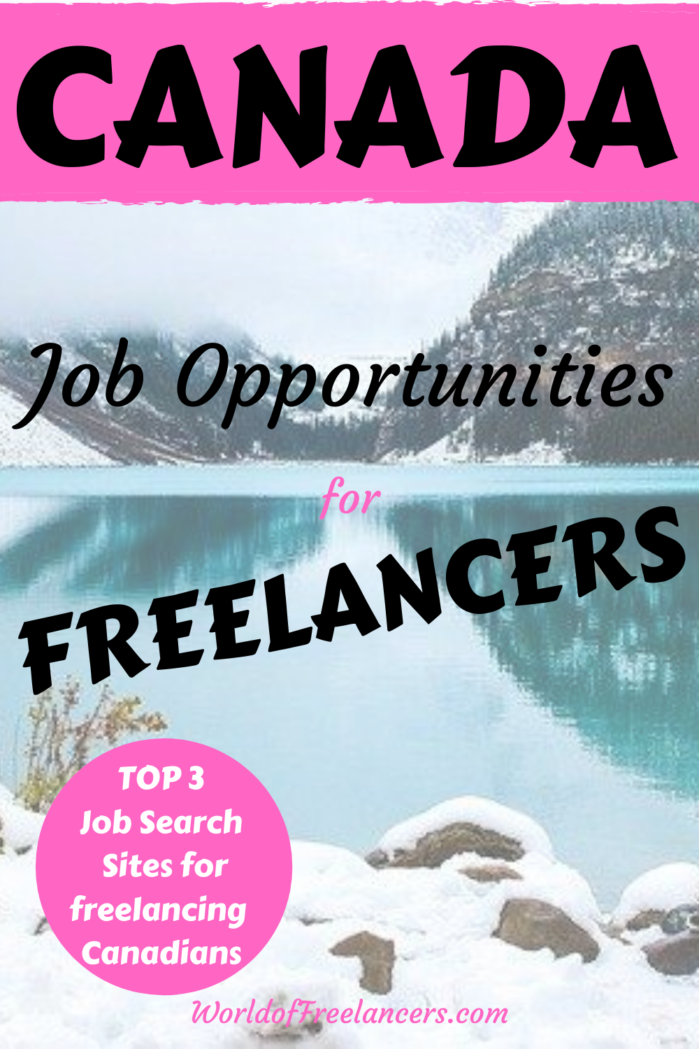 Winter water and mountain scene in Canada for Pinterest with pink, black and white text saying Canada job opportunities for freelancers - top 3 job search sites for freelancing Canadians