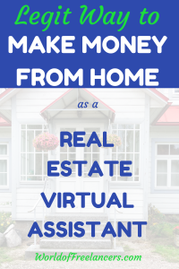 Pinterest image white home with light red awning and text that says legit way to make money from home as a real estate virtual assistant