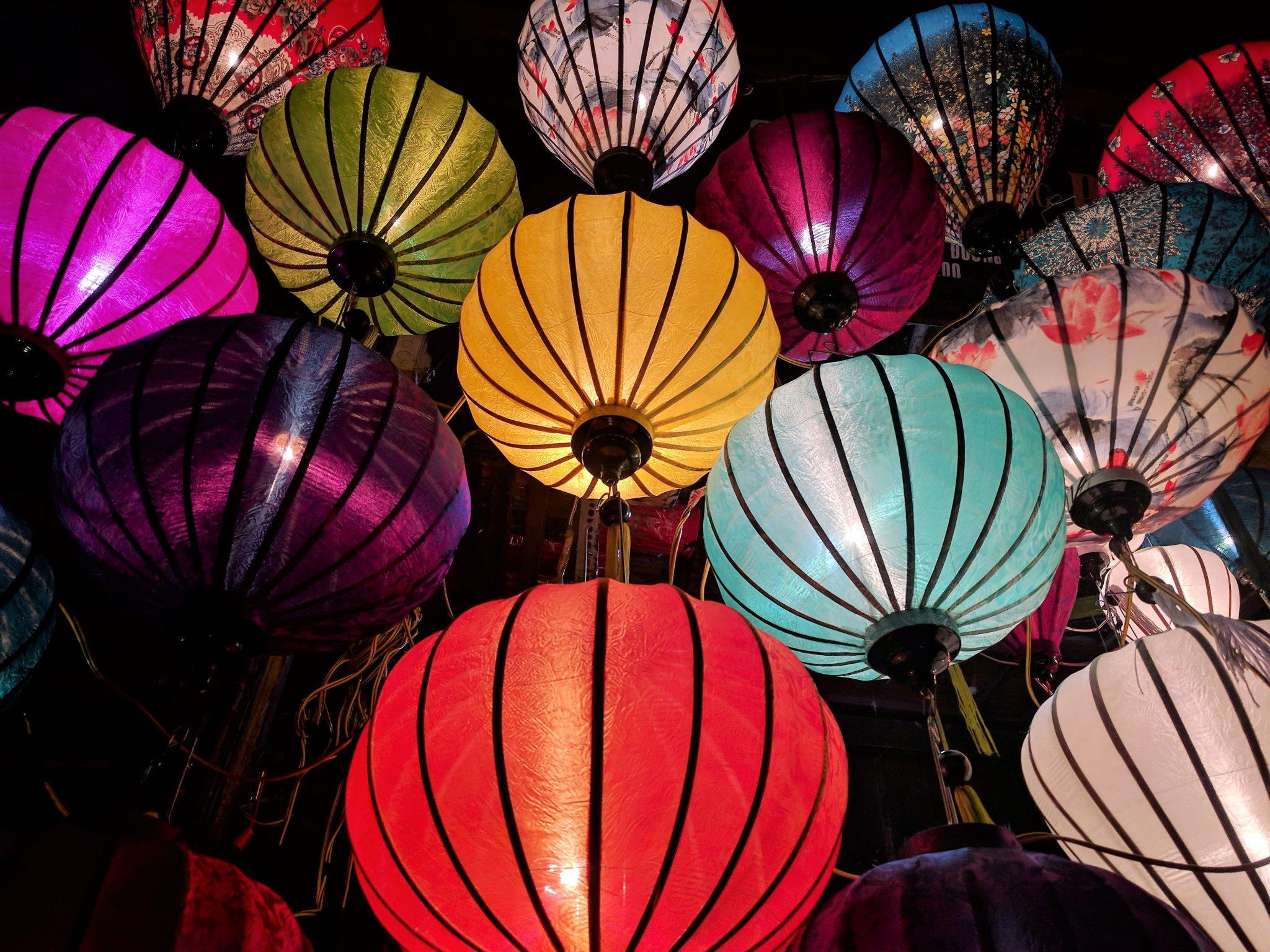 Over a dozen colorful Malaysia lanterns