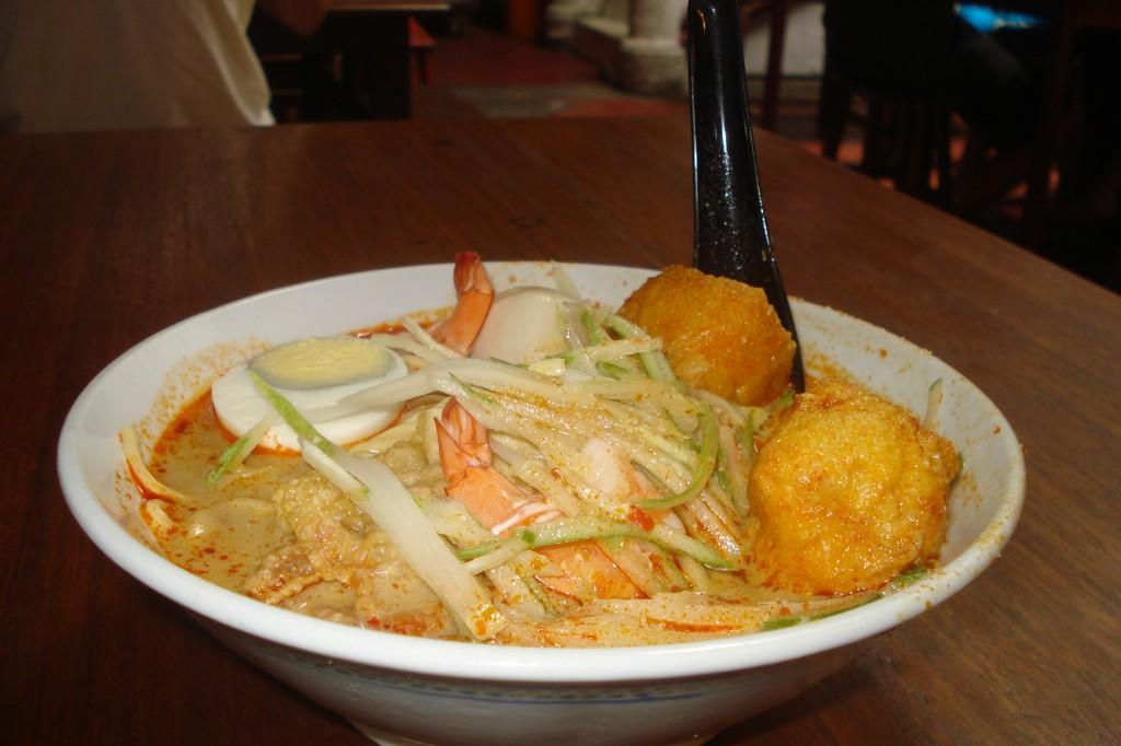 Bowl of seafood baba laksa in Malaysia