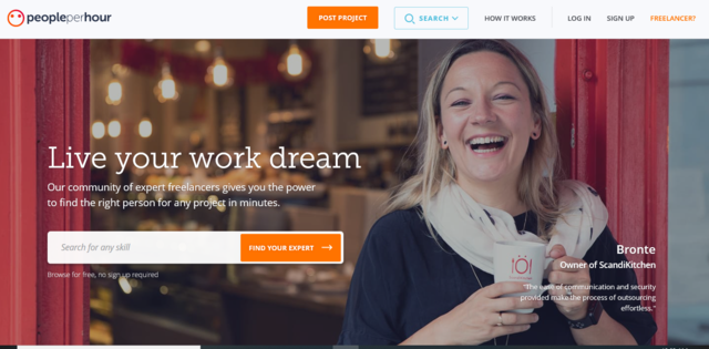 People Per Hour job search website home page