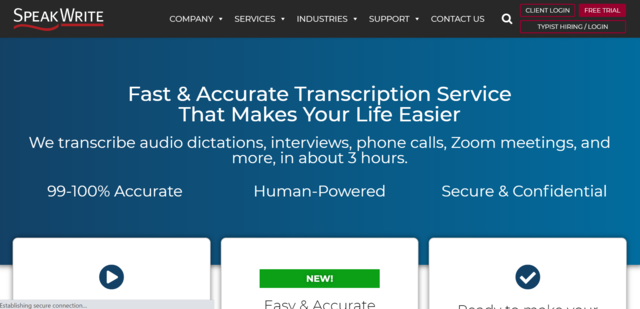 Top of home page of SpeakWrite website where you can find transcription jobs online