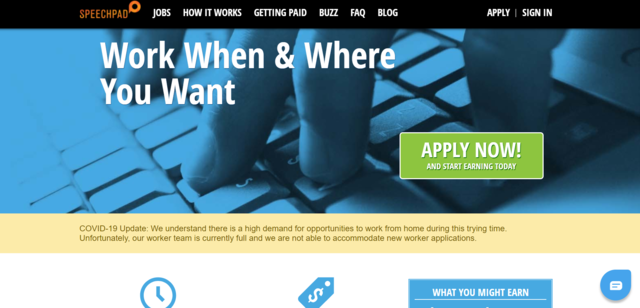 Top of home page of SpeechPad website where you can find transcription jobs online