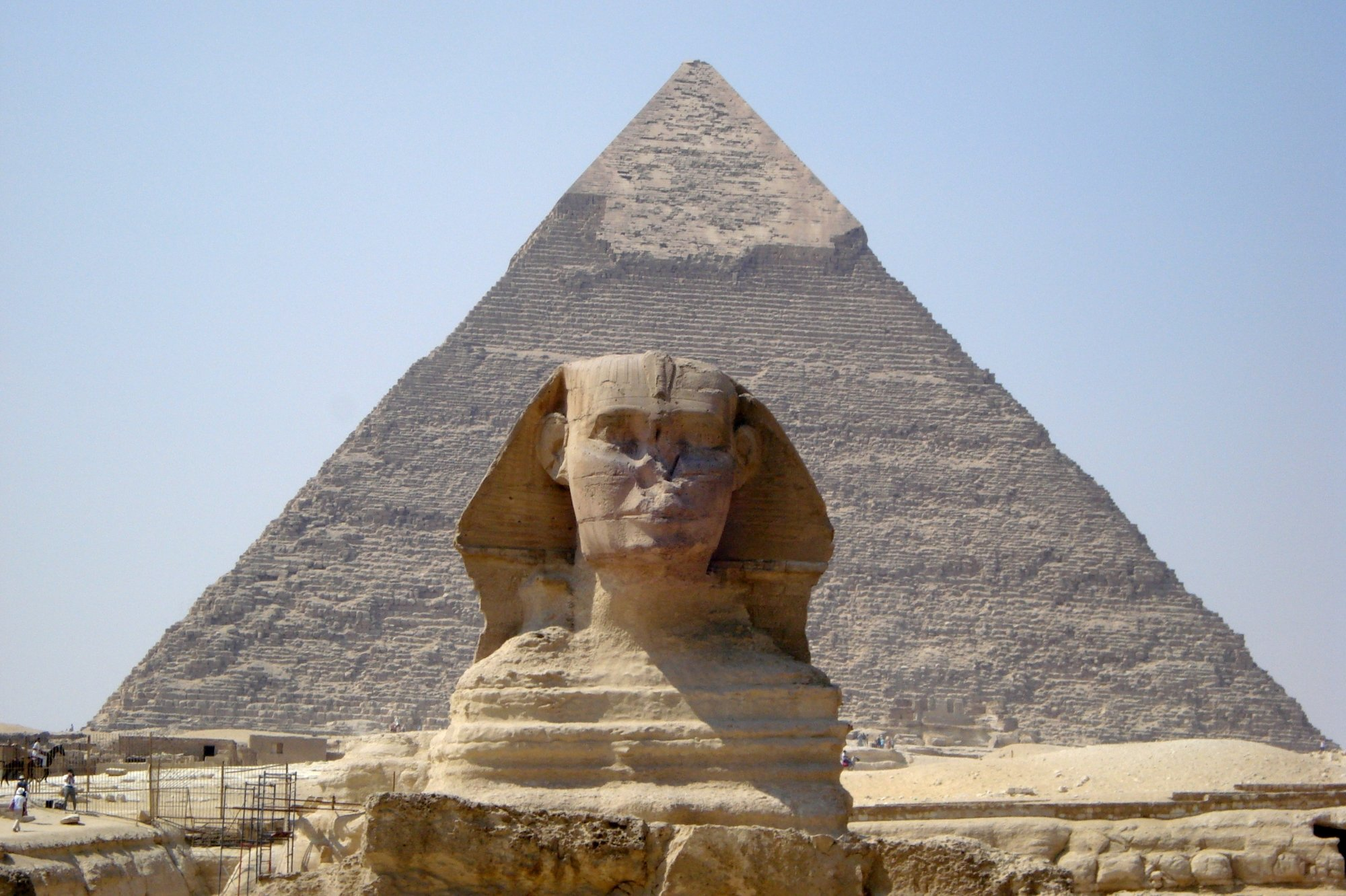 Sphinx in front of the Great Pyramid in Egypt