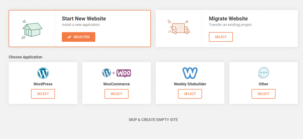 4 options for starting a new website with SiteGround - WordPress, WooCommerce, Weebly Sitebuilder or other