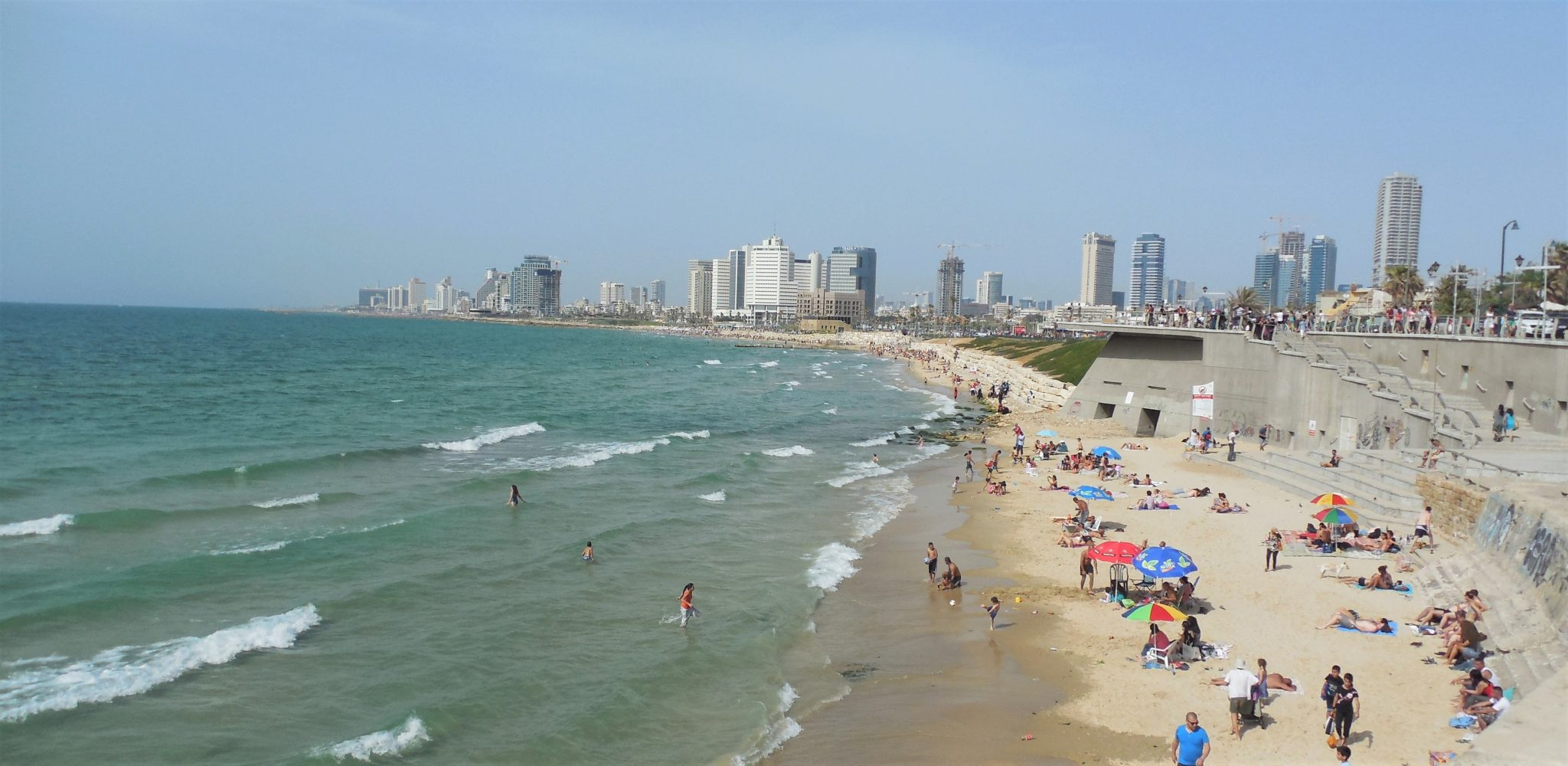 Beach on the Mediterranean Sea with Tel Aviv in the background