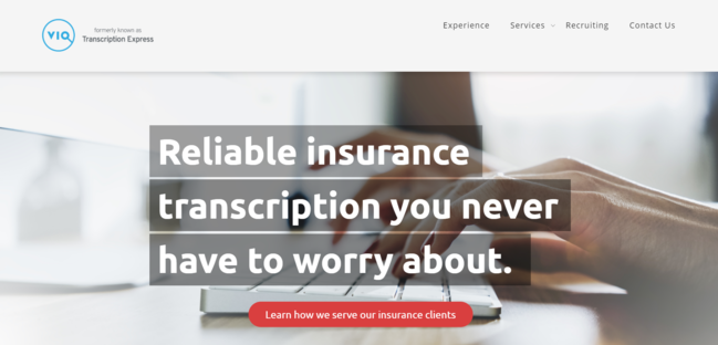 Top of home page of VIQ Transcription Express website where you can find transcription jobs online