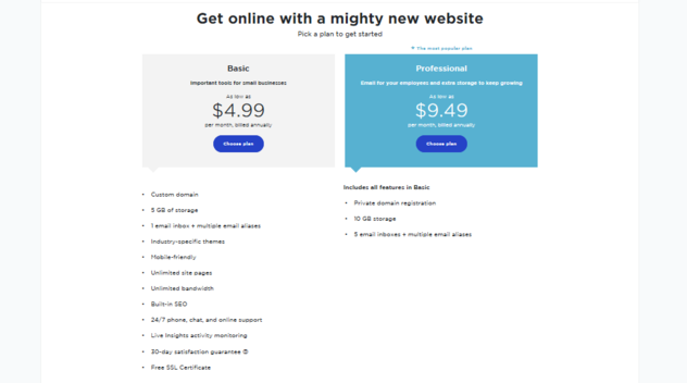 Pricing options for people who create a website with Yahoo Small Business Websites