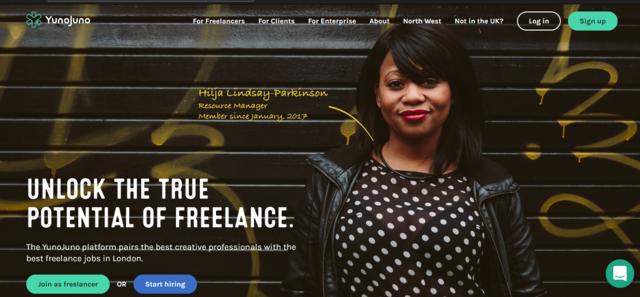 YunoJuno job search website for U.K. freelancers home page