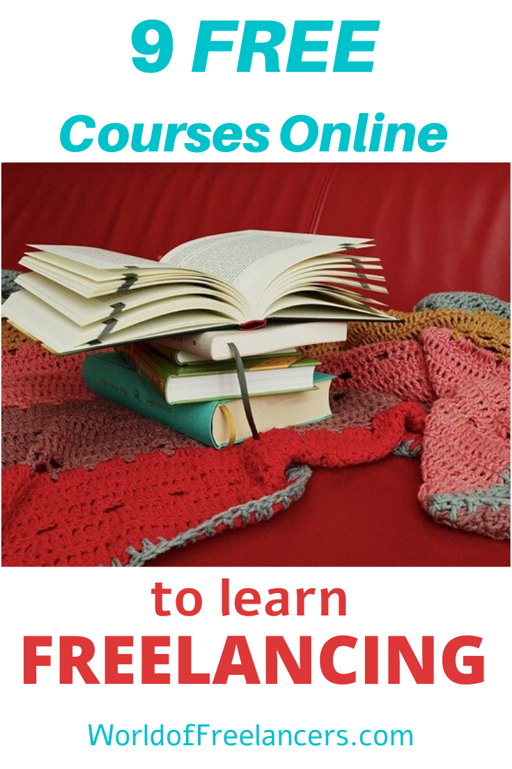 Four books atop a red and pink crocheted scarf representing 9 free freelancing training courses