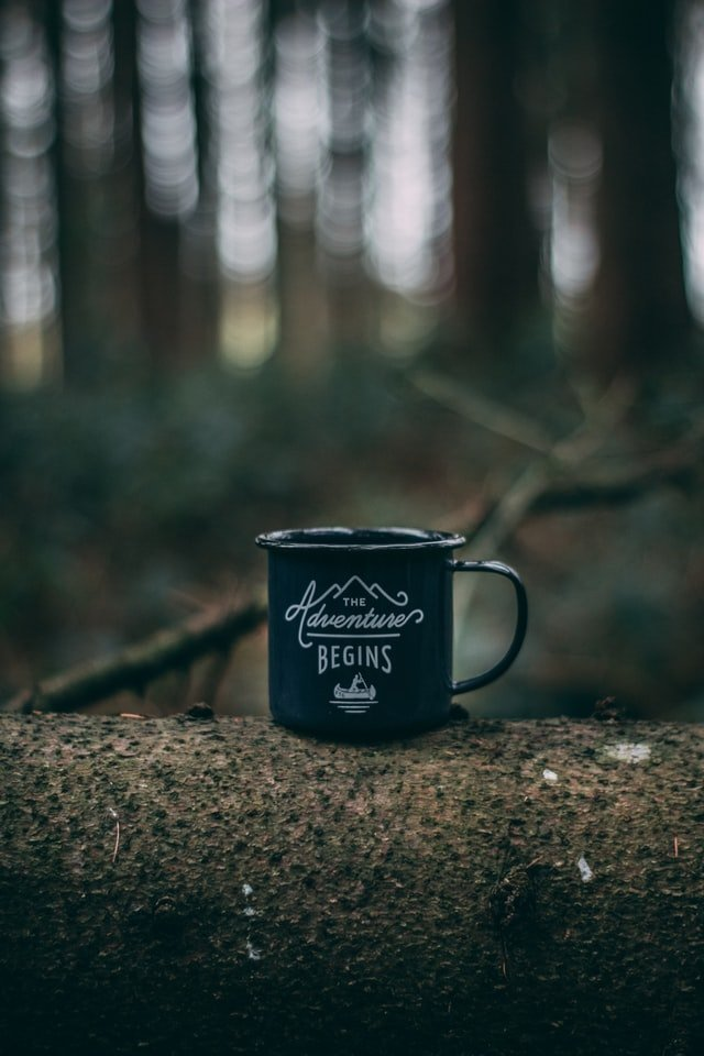 The adventure begins black coffee mug on log in forest for benefits of freelancing