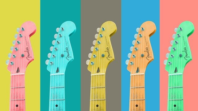 Illustration of colorful guitars you can rent out to make passive income
