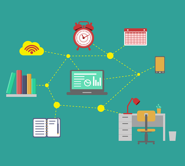 Teal graphic depicting several work items - a desk, a bookshelf, an old fashioned alarm clock, phone, calendar, notebook, computer and internet connectivity icon all with dots connecting to each other